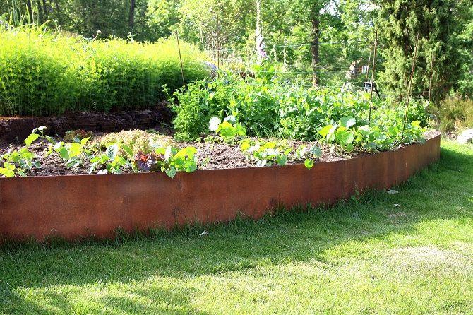 Cortén trädgårdsland