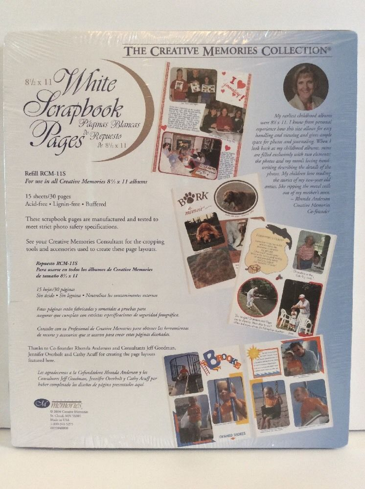 NEW Creative Memories White 12x12 Refill 15 Sheet//30 Pages Scrapbook Old Style
