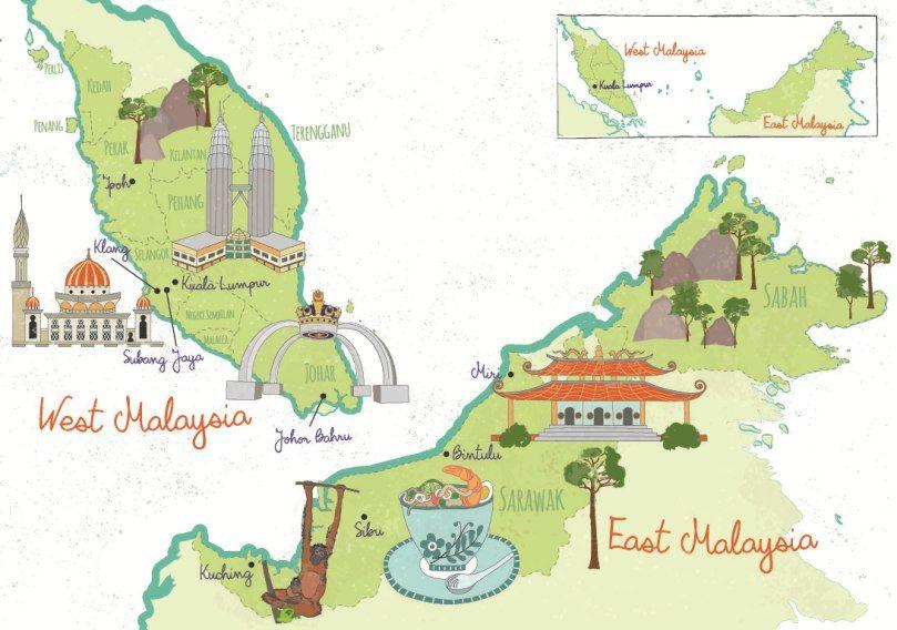 Malaysia Illustrated map, Kuala Lumpur, Klang, Mirir ... on illustrated wedding map, illustrated beach map, illustrated island map,