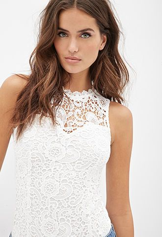 423fb136968a FOREVER 21 Floral Crochet Bodysuit White from Forever 21 | Clothing ...