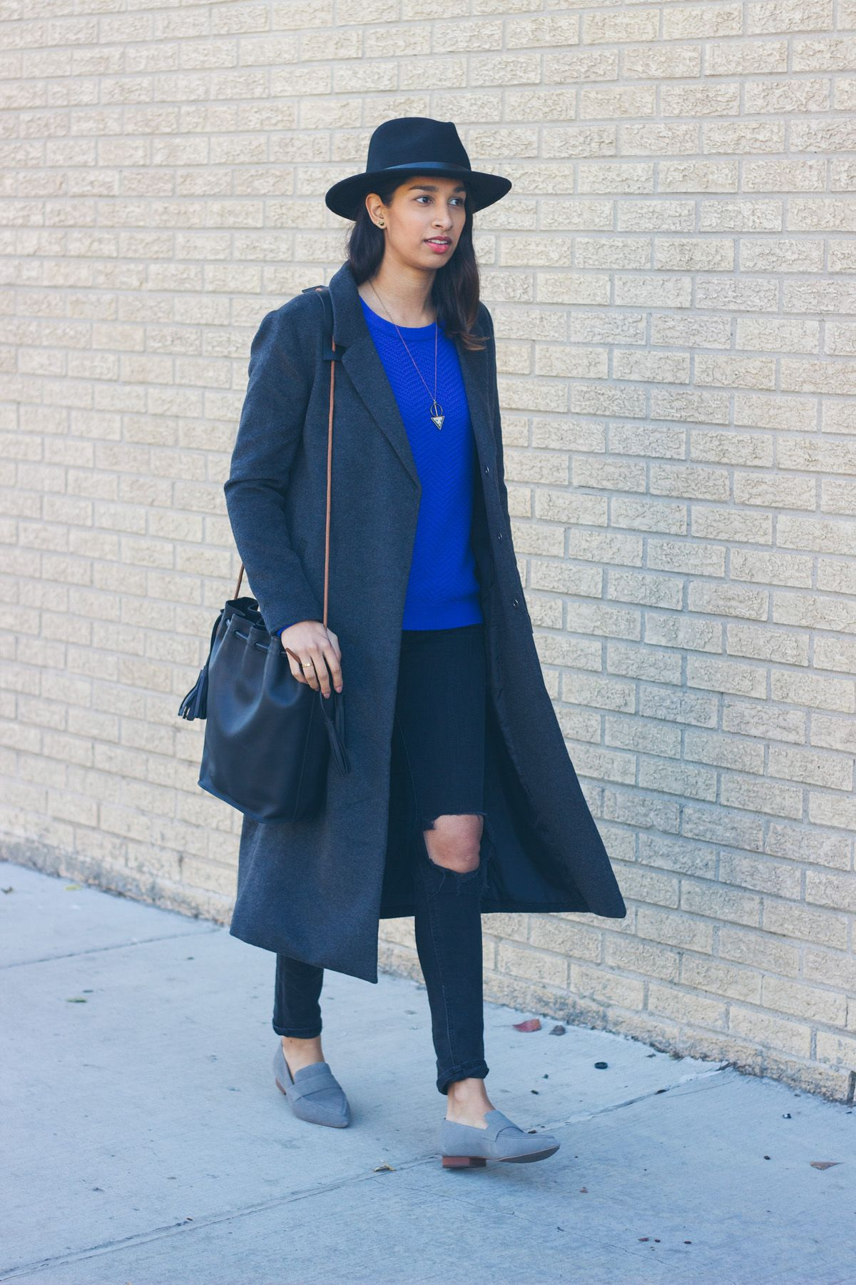 Bright Blue Sweater | Coats, Loafers and Blue