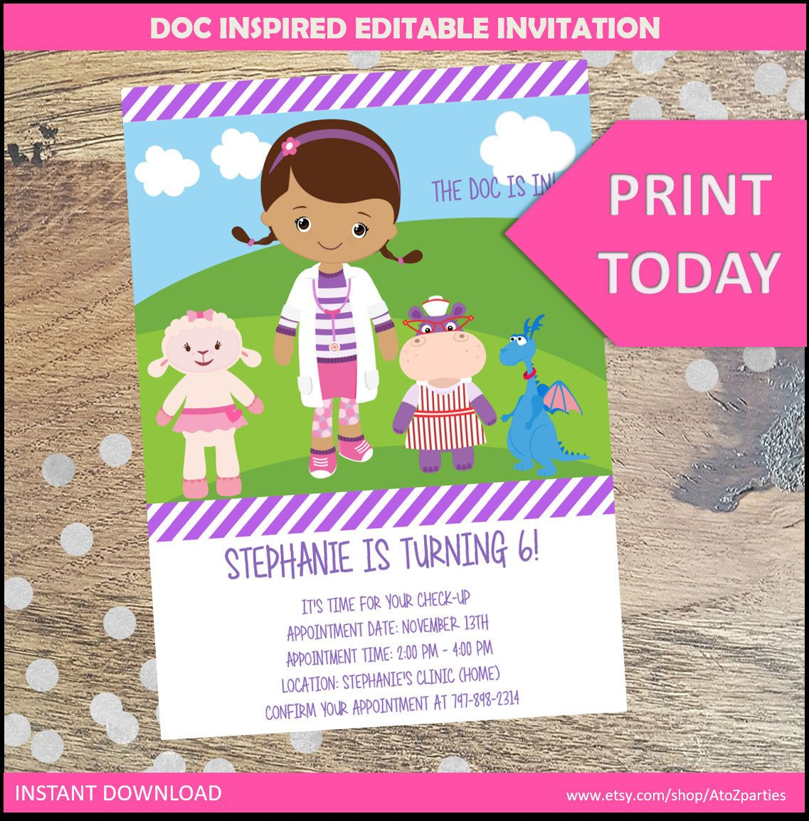 Doc McStuffins Party Invitation Instant Download, DIY, JPEG ...