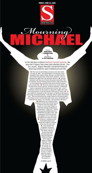 Entertainment section cover on first anniversary of Michael Jackson's death.