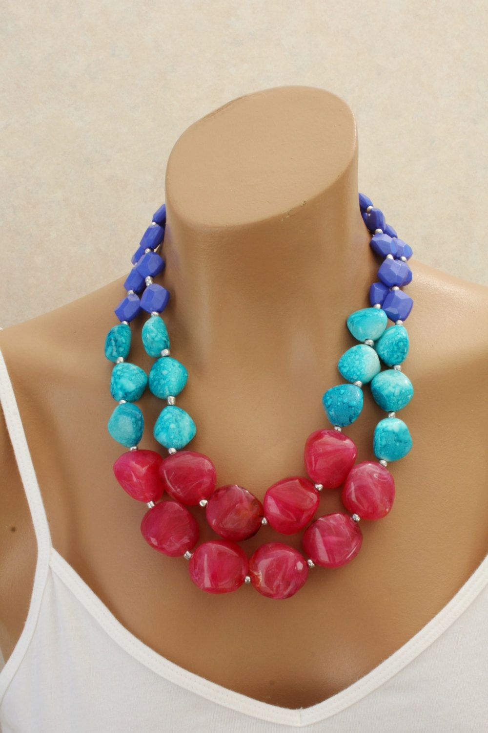 Chunky Double Strand Statement Necklace by EclecticOrnaments