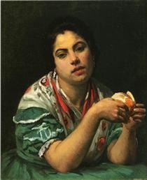 Peasant Woman Peeling an Orange -1875 - Mary Cassatt
