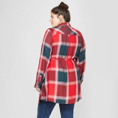 72c899b31a667 Maternity Plus Size Long Sleeve Plaid Popover Tunic - Isabel Maternity by  Ingrid & Isabel Red 4X, Infant Girl's