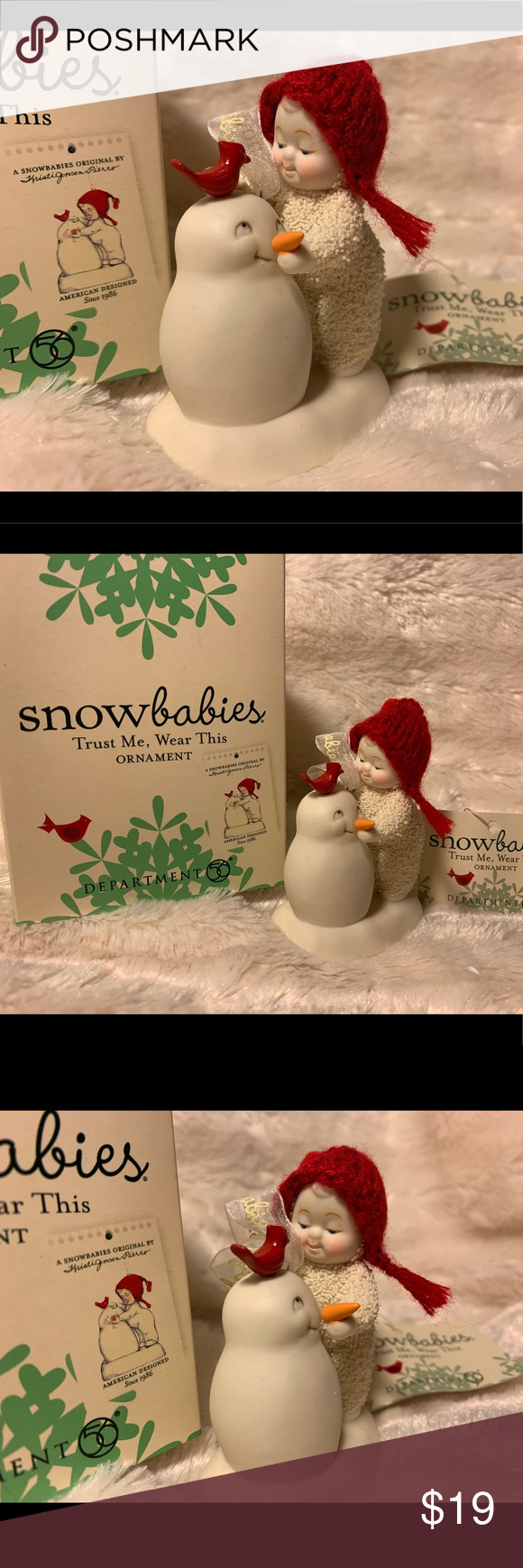 Snowbabies Dept 56 Trust Me, Wear This Ornament Retired  New in box Department 56 Holiday Ornaments #department56