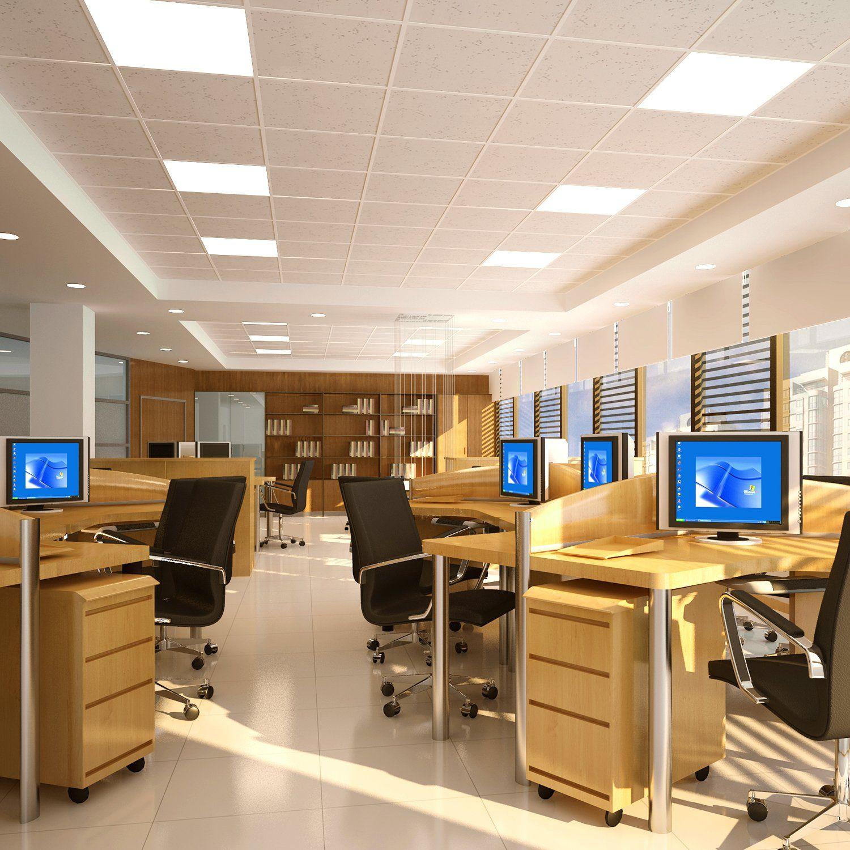 Led Troffer Panel Light 2x2 Feet Edgelit 2 Pack 40w 4200 Lumens 010v Dimmable 4000k Daylight White White Frame Eligible For Light Fixtures Paneling Led Ceiling