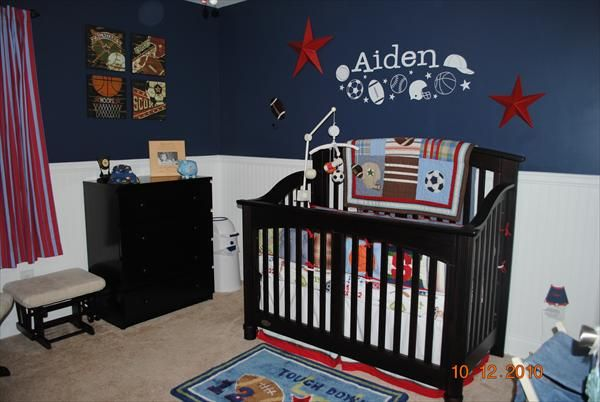 Sports Theme Nursery I Like The Blue And White Walls
