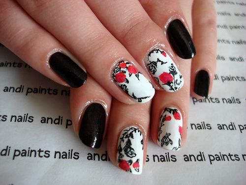 Black, White, and Red Rose Nails | Nail Art Inspirations | Pinterest ...