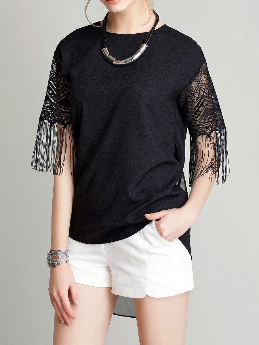 #AdoreWe #StyleWe Tunics❤️Designer VC Black Half Sleeve Fringed Tunic - AdoreWe.com