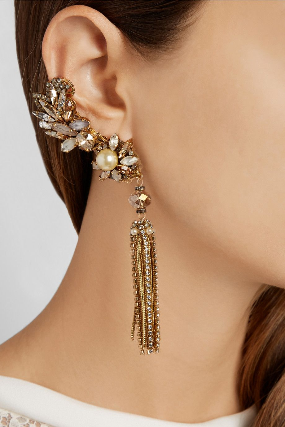 Erickson Beamon | Stratosphere gold-plated, Swarovski crystal and faux pearl earrings |Golden Dream