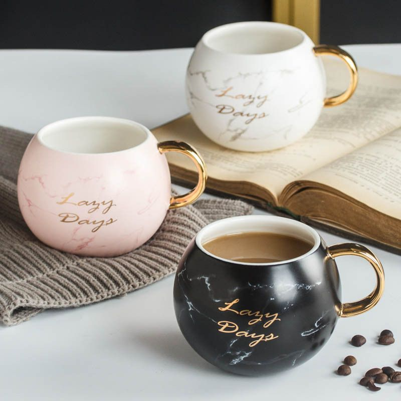 Marble Coffee Mug With Gold Handle Cute Coffee Mugs Disney Coffee Mugs Mugs
