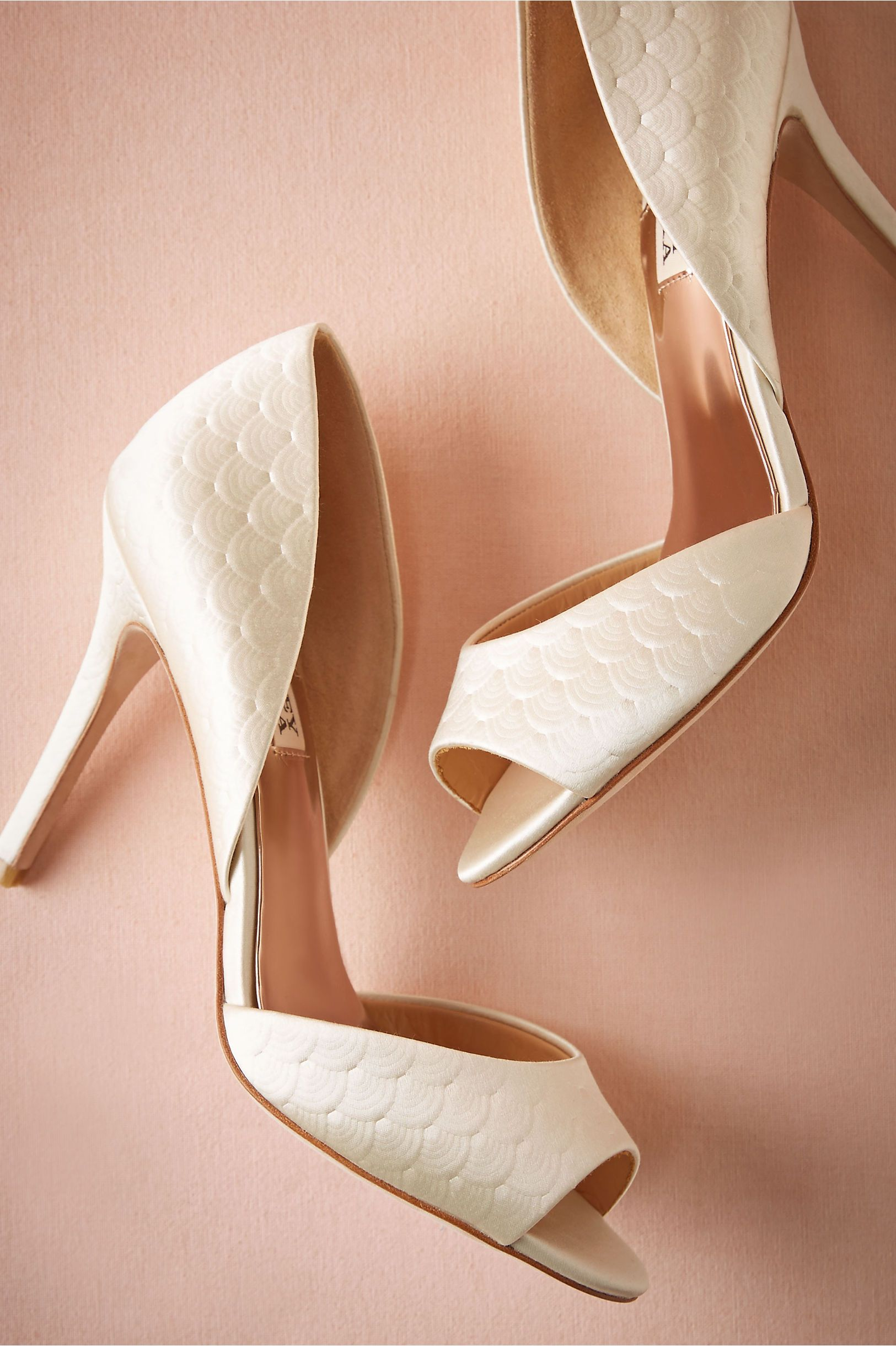 White Bridal Shoes Pressed Scallop D Orsay Heels From Bhldn