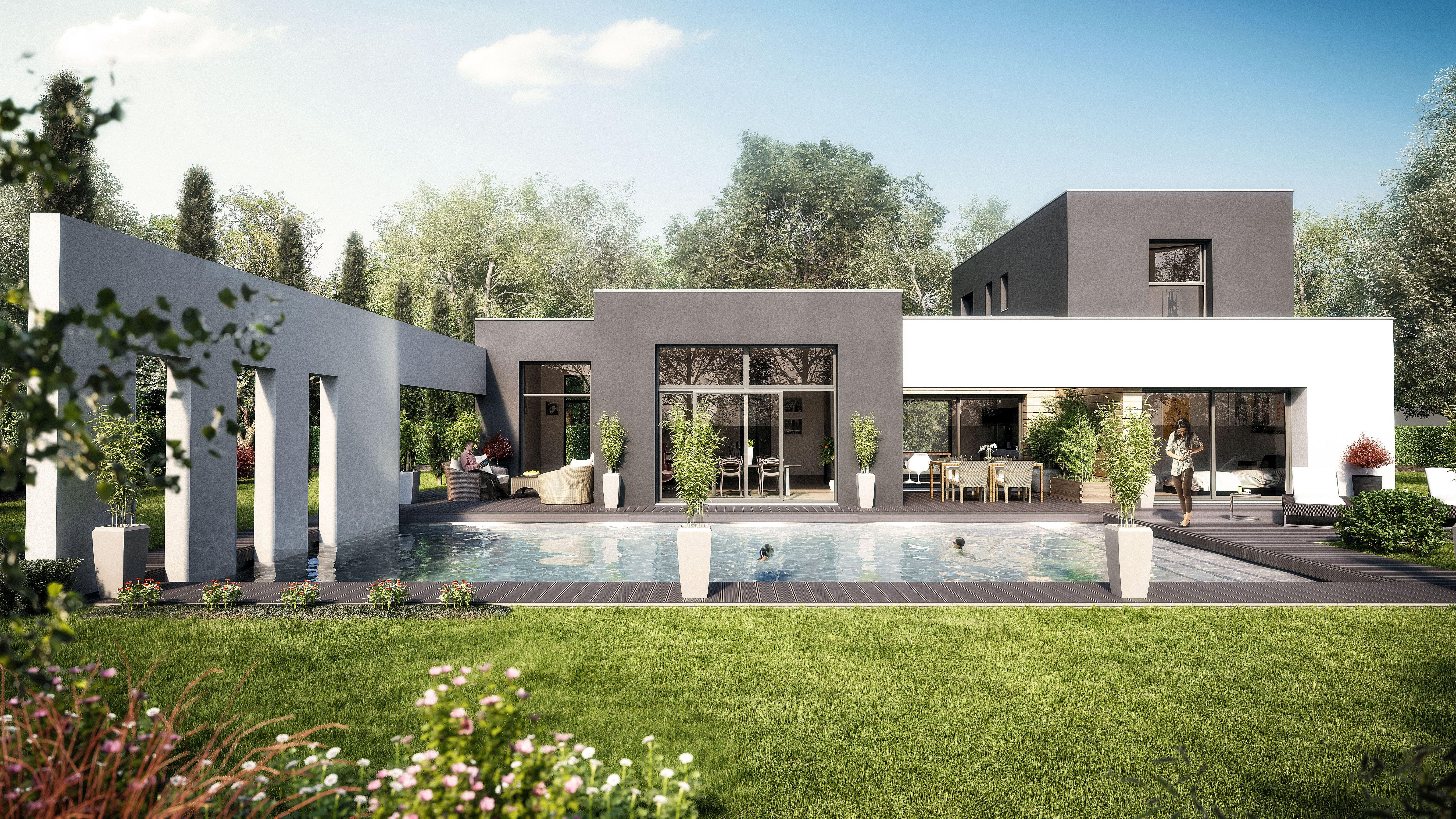 Maisons cubiques maisons levoye arquitectura house architecture y house styles - Maison cubique plain pied ...