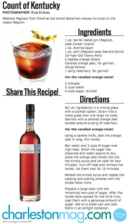 Count Of Kentucky Cocktail From Charleston Mag Using Warre S Otima 10 Year Old Tawny Port Kentucky Cocktail Mixed Drinks Cocktails Cocktail Making