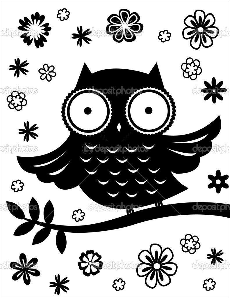 cute owl black and white u2014 stock vector nadia k diy