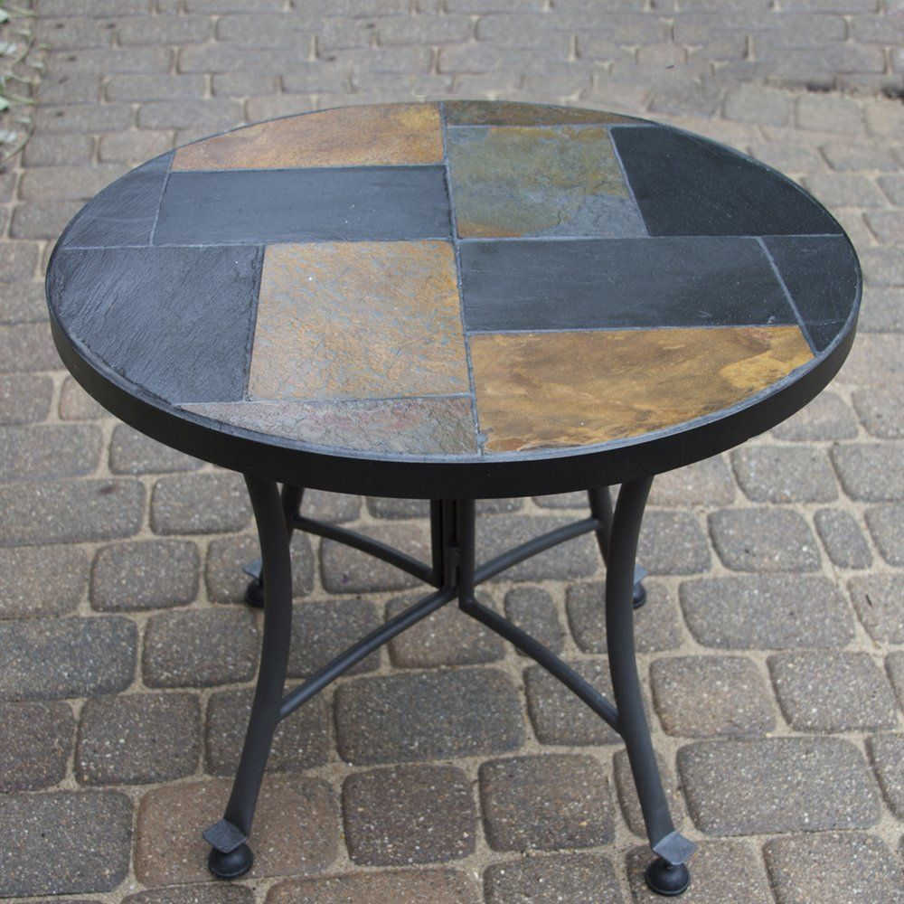 Slate Mosaic Round Accent Table Outdoor End Tables Outdoor Accent Table Patio Accent Table