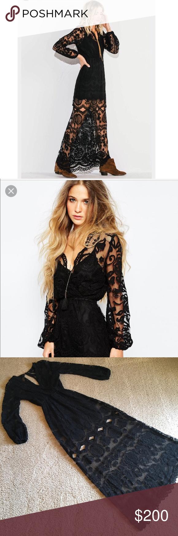 Jenus pirate booty ara maxi dress black lace sz xs black laces and