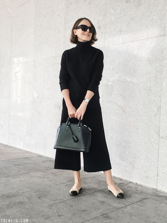Photo of Black Ribbed Turtleneck Sweater With Flute/Bell Sleeve | Shop on SHEISREBEL.COM