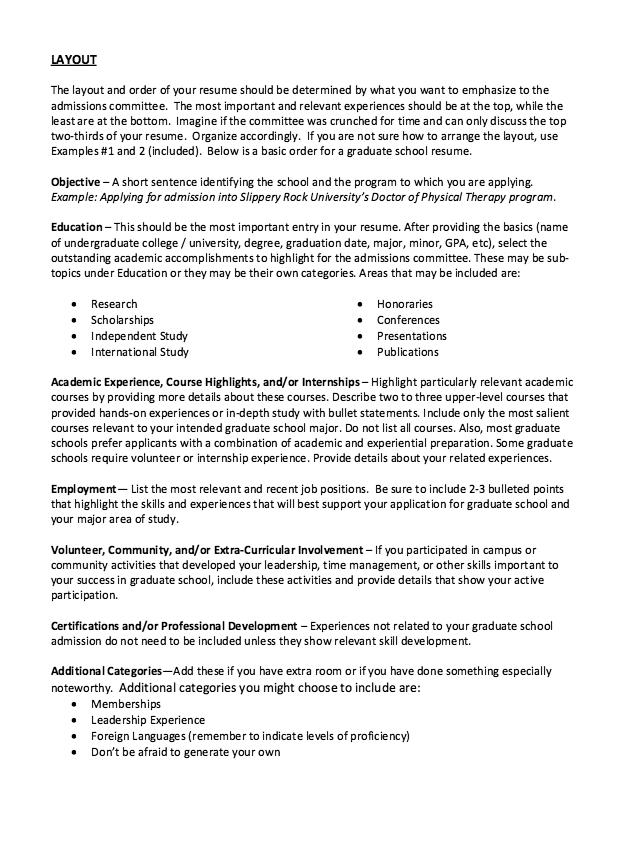 Graduate School Admissions Resume  HttpExampleresumecvOrg