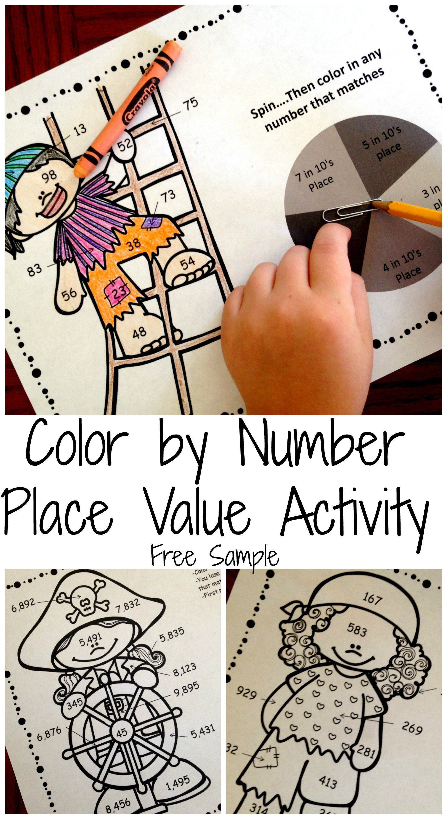 Here\'s Free Math Worksheets To Practice Place Value - Coloring | Piratas