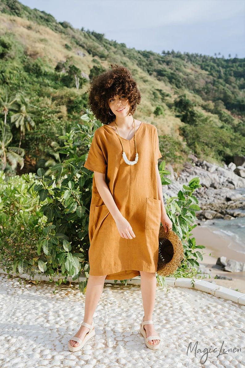 Loose Linen Dress Meredith In Cinnamon Color Short Sleeve Etsy In 2021 Linen Dress Summer Linen Dresses Linen Clothes [ 1191 x 794 Pixel ]