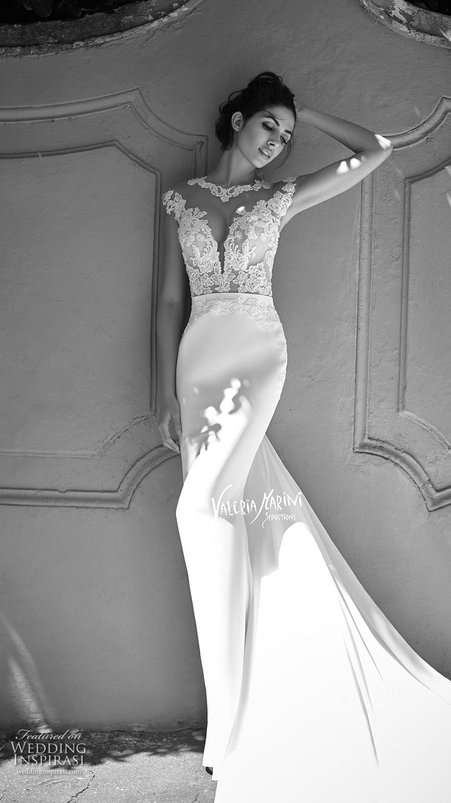 valeria marini seductions 2017 bridal cap sleeves round split plunging neckline heavily embellished bodice sexy sheath wedding dress chapel train (untitled 14) mv -- Maison Signore 2017 Wedding Dresses