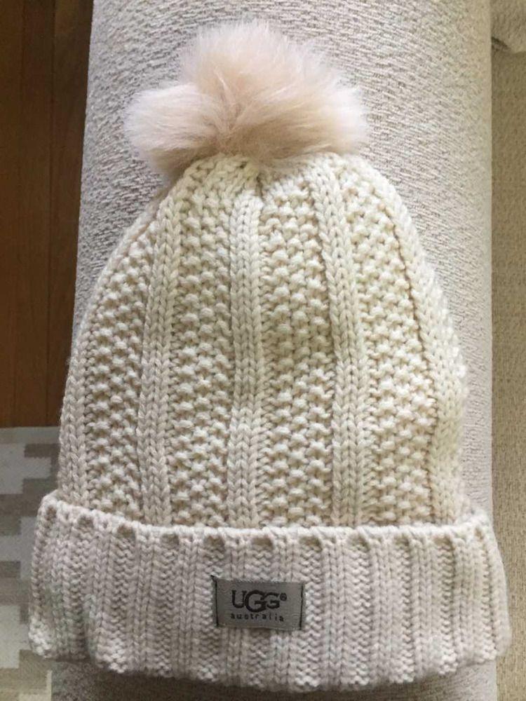 e15932c4b64 UGG Womens Cream Solid Ribbed Fleece Lined Beanie Hat With Pom Pom  fashion   clothing