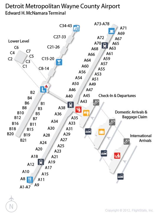 Dtw Terminal Map DTW) Detroit Metropolitan Wayne County Airport Terminal Map