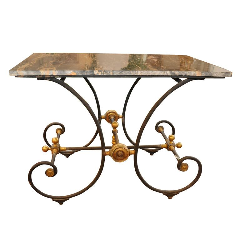 Austin Antique Furniture Texas French European Antiques - Antique English  1880s Pastry Table with new marble - Austin Antique Furniture Texas French European Antiques - Antique