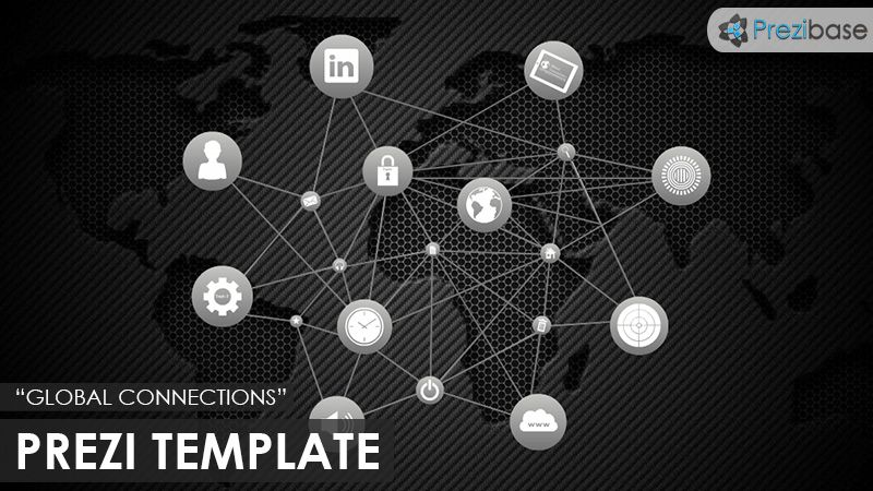 Prezi Template With The Concept Of Global Connections Grey