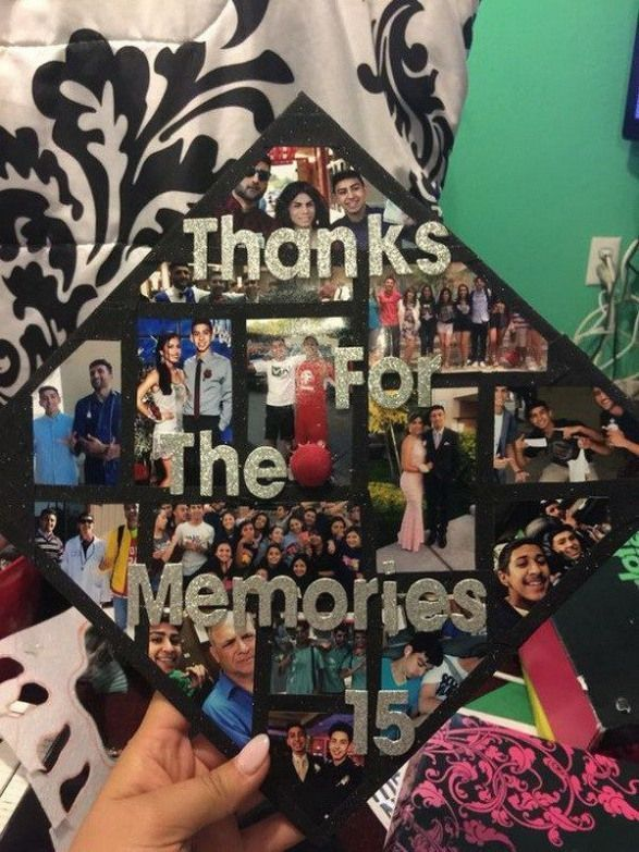 Picture Montage on Graduation Cap---40 Awesome Graduation Cap Ideas. #highschool...