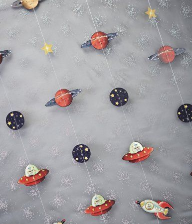 Ginger Ray Spaceship Planets Robot Kids Party Backdrop