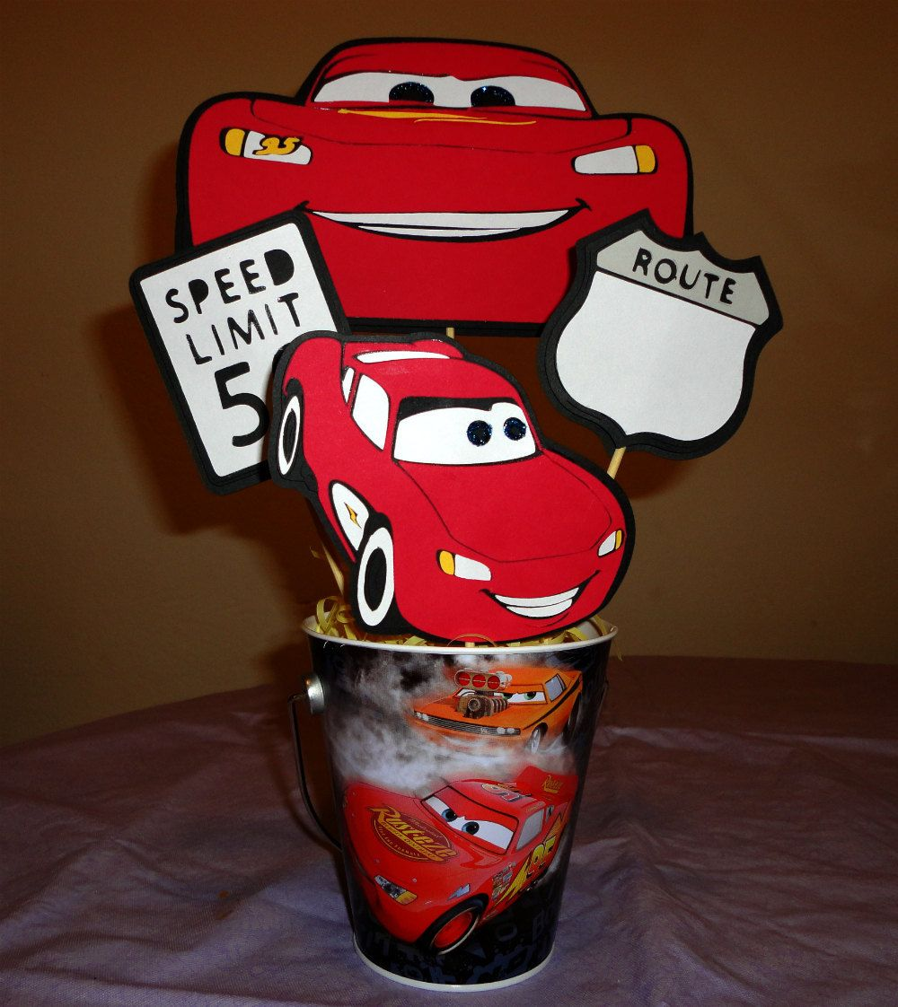 Cars Party Decorations Lightning Mcqueen Cars Party Bucket Centerpiece Monkeys 2nd