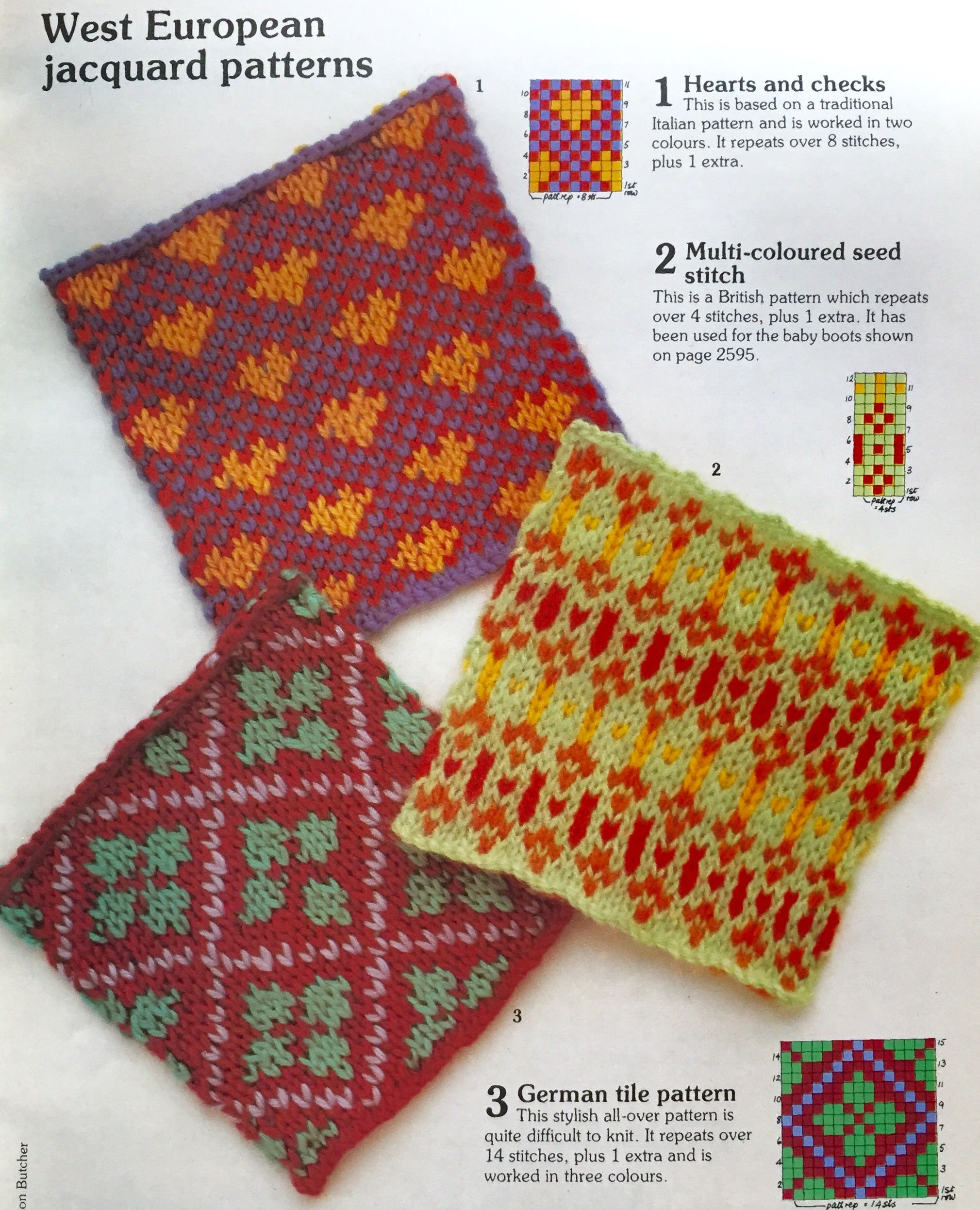 West European Jacquard Patterns. Knitting stitch library. Busy ...