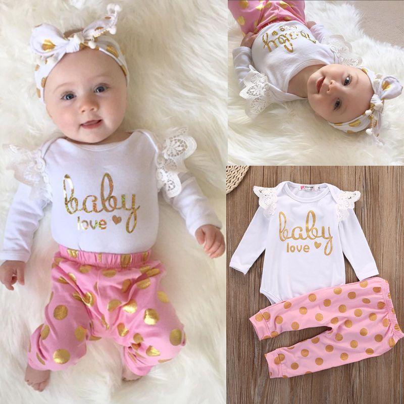 Infant Newborn Baby Girls Sunsuit RomperPants Jumpsuit Bodysuit Clothes Outfits