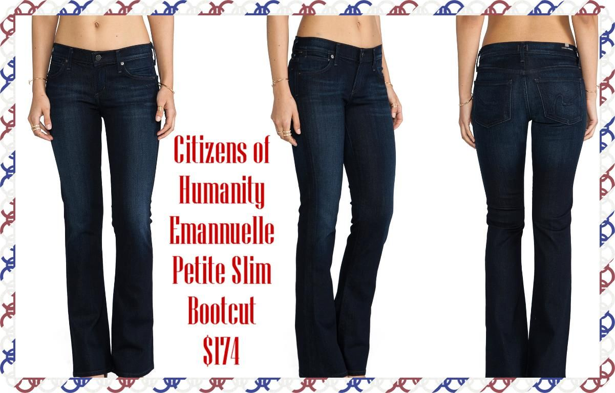 "Citizens of Humanity Emannuelle Petite Slim Boot in Space: •Wash - Space  •46% cotton , 27% tencel , 25% rayon , 2% spandex •14"" in the knee breaks to 18"" at the leg opening •Slight whiskering along front pockets  avaialble size 25-30"