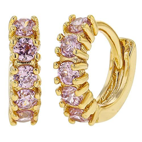 14k Gold Plated Channel Set Pink Small Girls Hoop Earrings * You can find more details by visiting the image link.
