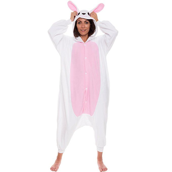 Silver Lilly Unisex Adult Pajamas - One Piece Cosplay Bunny Animal Costume  (M) 8c1784923