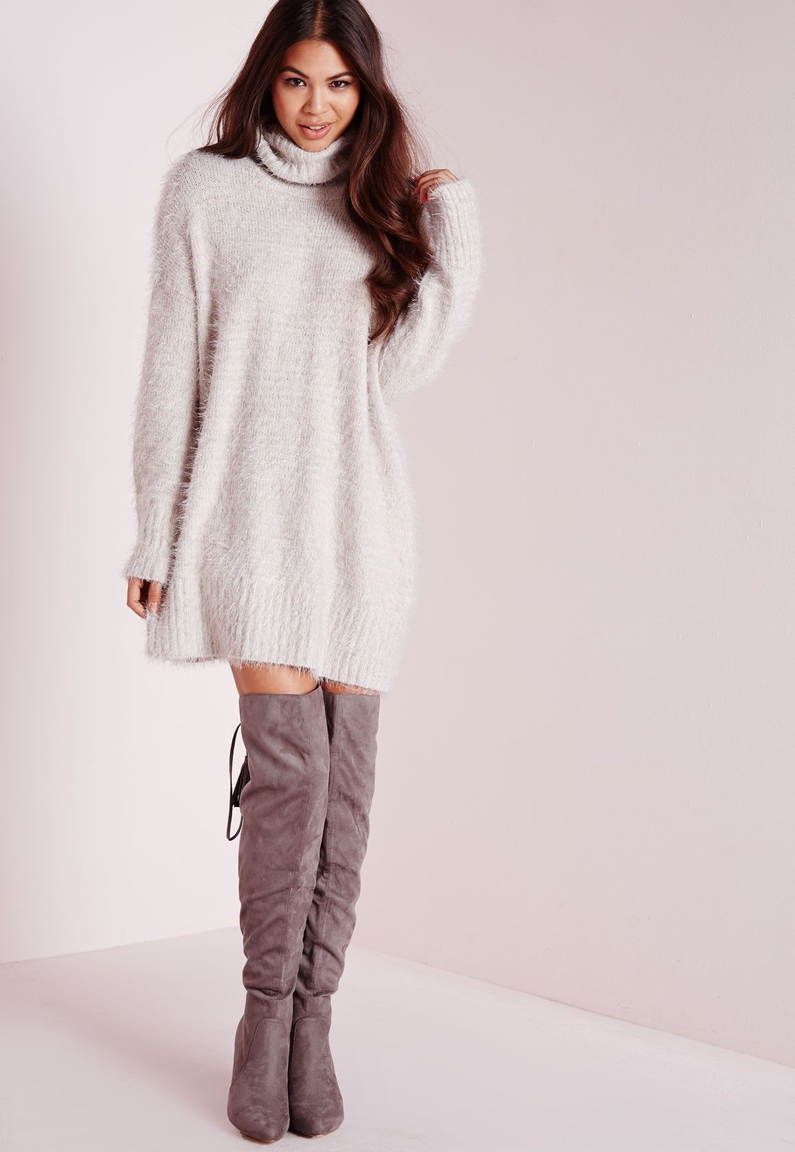 Missguided - Petite Fluffy Roll Neck Jumper Dress Grey | Current ...