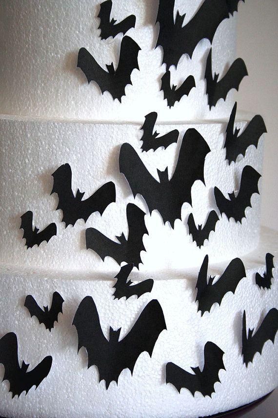 Wedding Cake Toppers, Halloween Cake Topper Edible Bats, Set of 24