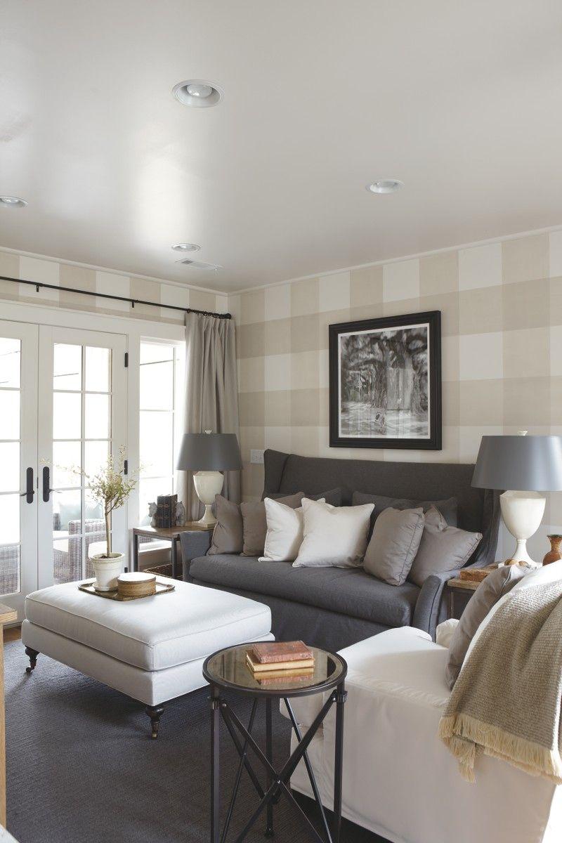 Loving the gray slipcovered settee looks like linen