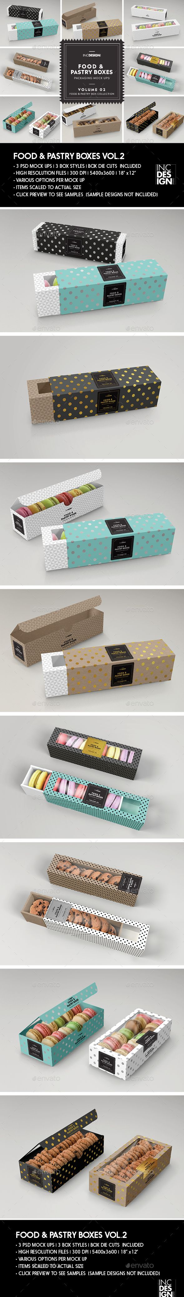 Download Food Pastry Boxes Vol 2 Cookies Macarons Pastry Take Out Packaging Mock Ups Food And Drink Packaging Desain Kemasan Ide Kemasan Kemasan