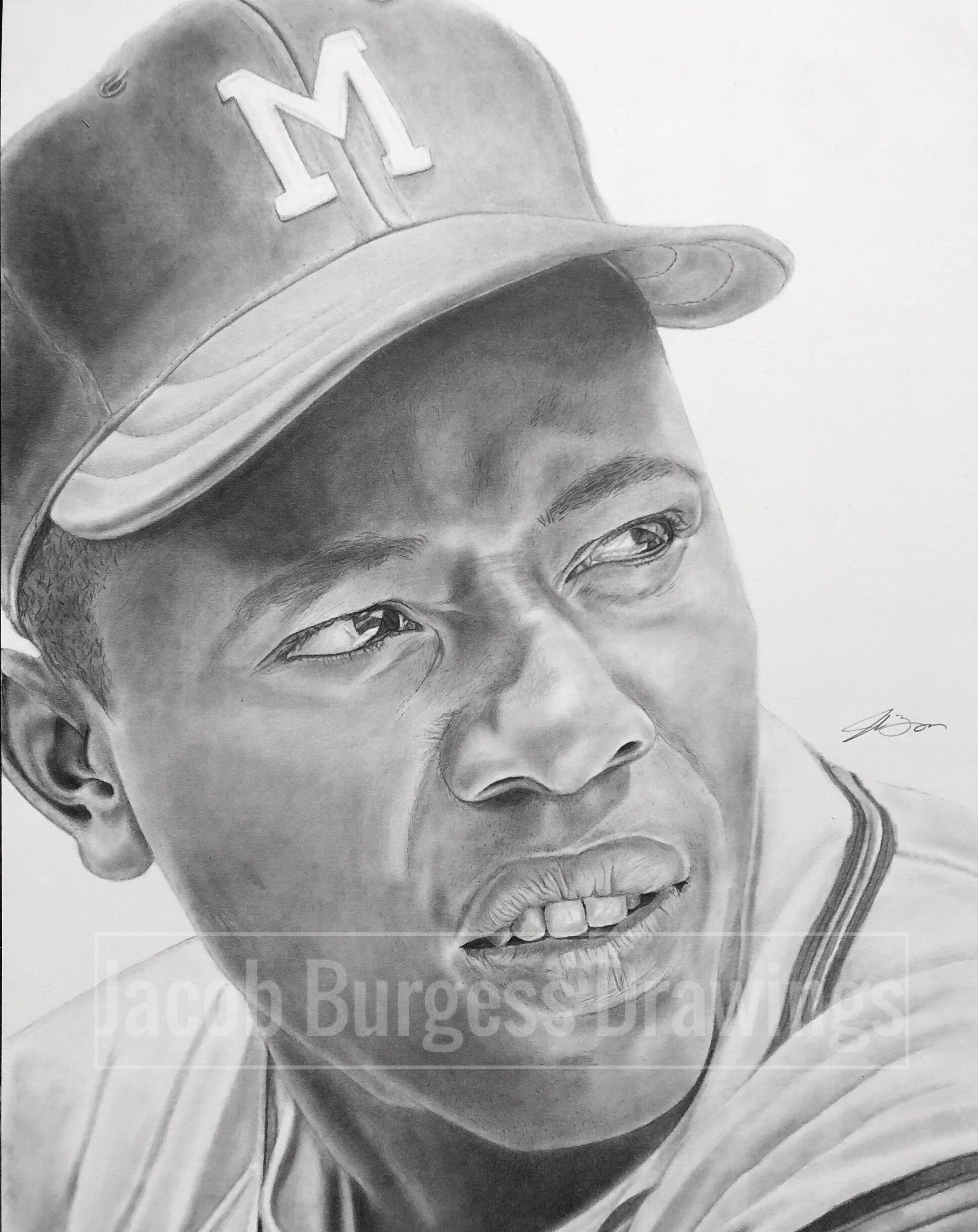 Hank Aaron 11 X14 Pencil Drawing Atlanta Braves Atlanta Braves Baseball Braves