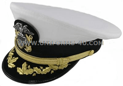 US NAVY COMMANDER ADMIRAL RANK WHITE HAT CAP R N COMMANDERS
