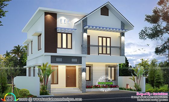 Sq ft cute home plan also bedroom beautiful design with free floor kerala rh pinterest