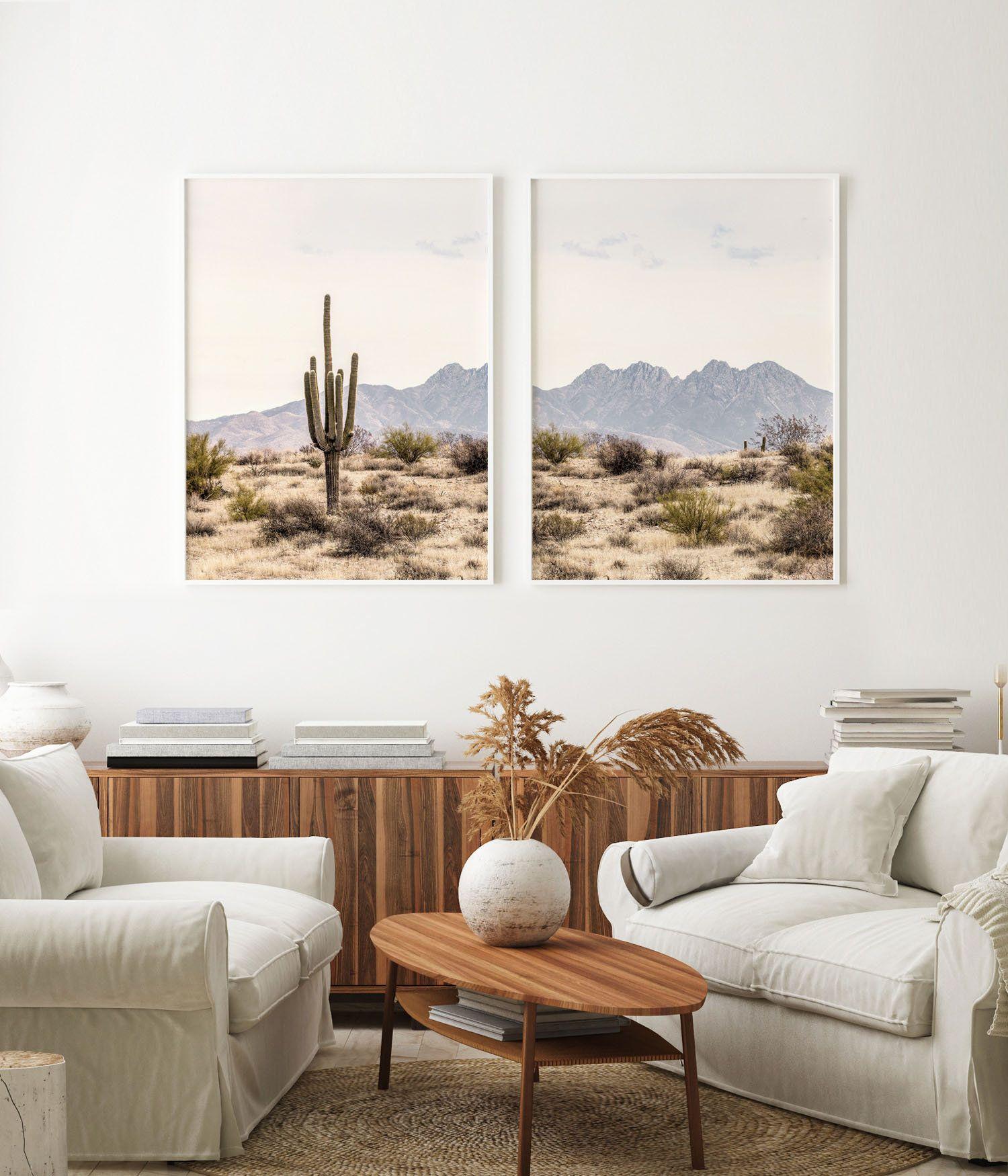 Desert Wall Art Set Desert Printable Cactus Wall Art Etsy Cactus Wall Art Wall Art Sets Landscape Wall Decor