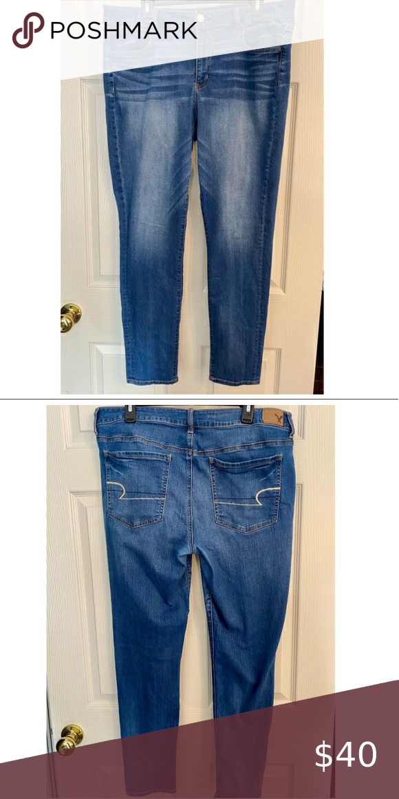 AmericanEagle SuperSuper Stretch Dark Wash size 18 Worn twice. 18 LONG American Eagle Outfitters Jeans Skinny