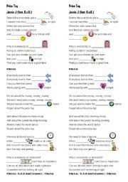 English Worksheet Price Tag Jessie J Jessie J Worksheets Price Tag
